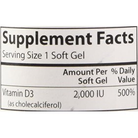 Carlson - Vitamin D3, 2000 IU (50 mcg), Bone & Immune Health, Vitamin D Supplements, Cholecalciferol Supplement, Gluten Free Vitamin D Capsules, 360 Softgels