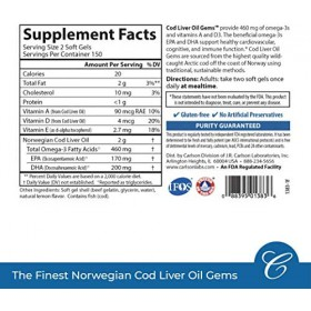Carlson - Cod Liver Oil Gems, 460 mg Omega-3s + Vitamins A & D3, Wild-Caught Norwegian Arctic Cod-Liver Oil, Sustainably Sourced Nordic Fish Oil Capsules, Lemon, 150 Soft Gels