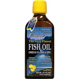 Carlson The Very Finest Fish Oil Liquid Omega-3, Lemon, 200 ml