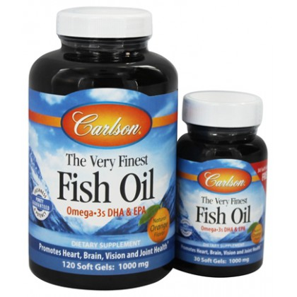 Carlson The Very Finest Fish Oil Orange Chewables, 120 + 30 Softgels, 1000 mg