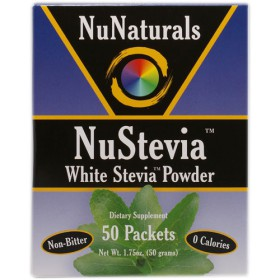 Nunaturals White Stevia Powder(W/Maltodextrin), 50 packets