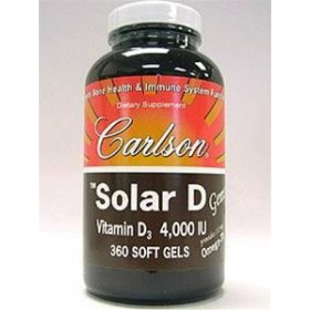 Carlson Labs Solar D Gems Natural Vitamin D3, 4000 IU, 360 Softgels