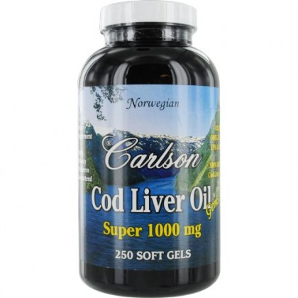 Carlson Super 1000 mg Cod Liver Oil, 250 Softgels