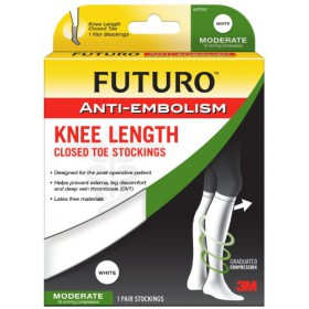Futuro Anti-Embolism Stockings, Medium Regular, White, Knee Length, Closed Toe, 1 Pair