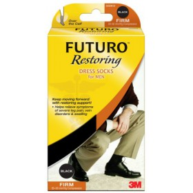 Futuro Support Socks, Men's Dress Socks, Black, Large, Firm, 1 pair
