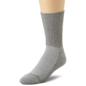 Incredisocks Diabetic Crew Sock with Bamboo Charcoal/Germanium Blend-L-Grey