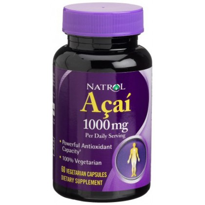 Natrol Acai Berry 1000mg, 60 Capsules (Pack of 2)