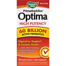 Nature's Way Primadophilus Optima High Potency 60 Billion Vegetarian Capsules, 30 Count